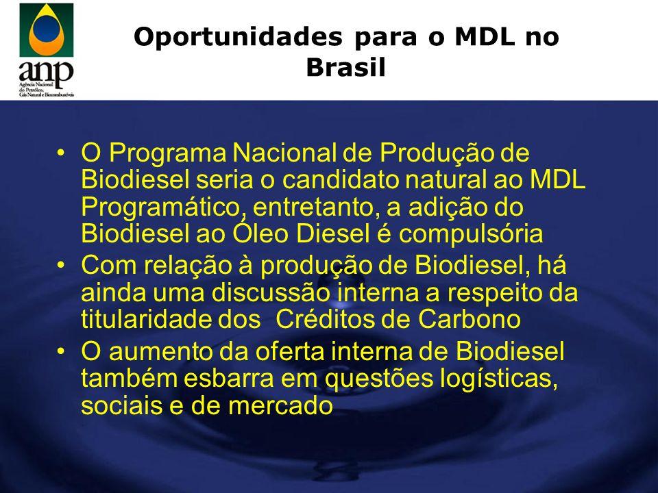 Oportunidades para o MDL no Brasil O Programa Nacional de Produção de Biodiesel seria o candidato natural ao MDL Programático, entretanto, a adição do