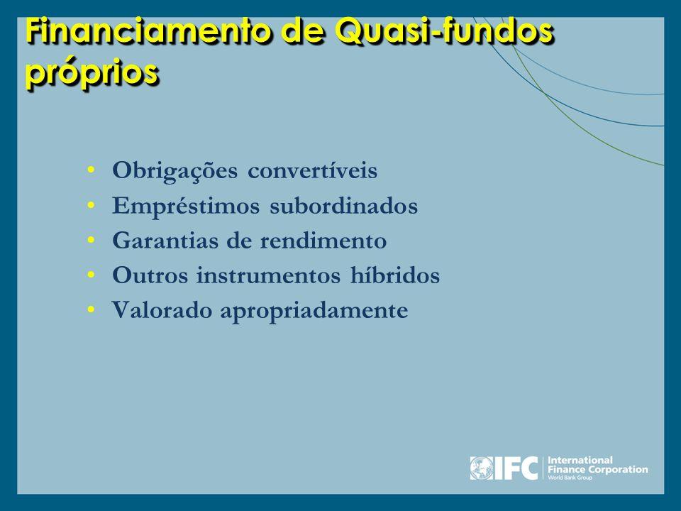 Financiamento de Quasi-fundos próprios Obrigações convertíveis Empréstimos subordinados Garantias de rendimento Outros instrumentos híbridos Valorado