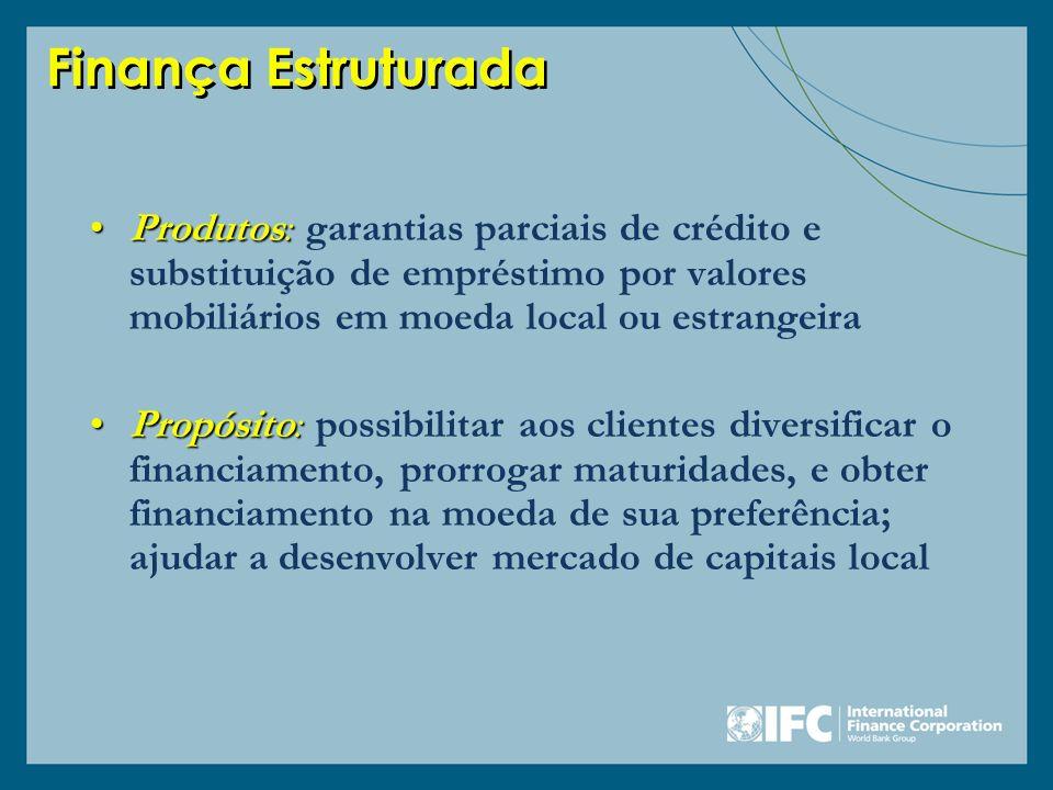 Finança Estruturada Produtos:Produtos: garantias parciais de crédito e substituição de empréstimo por valores mobiliários em moeda local ou estrangeir