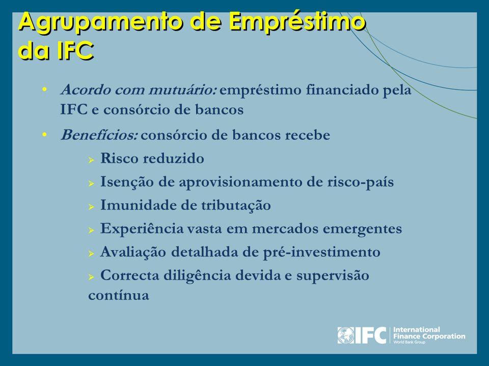 Agrupamento de Empréstimo da IFC Acordo com mutuário: empréstimo financiado pela IFC e consórcio de bancos Benefícios: consórcio de bancos recebe Risc
