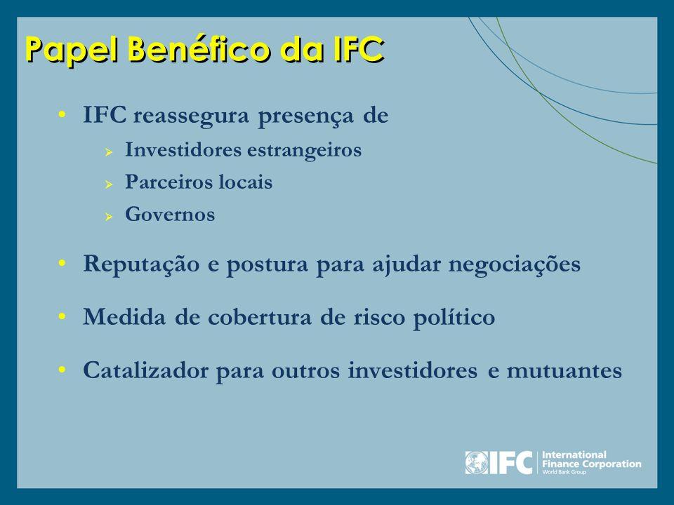 Papel Benéfico da IFC IFC reassegura presença de Investidores estrangeiros Parceiros locais Governos Reputação e postura para ajudar negociações Medid