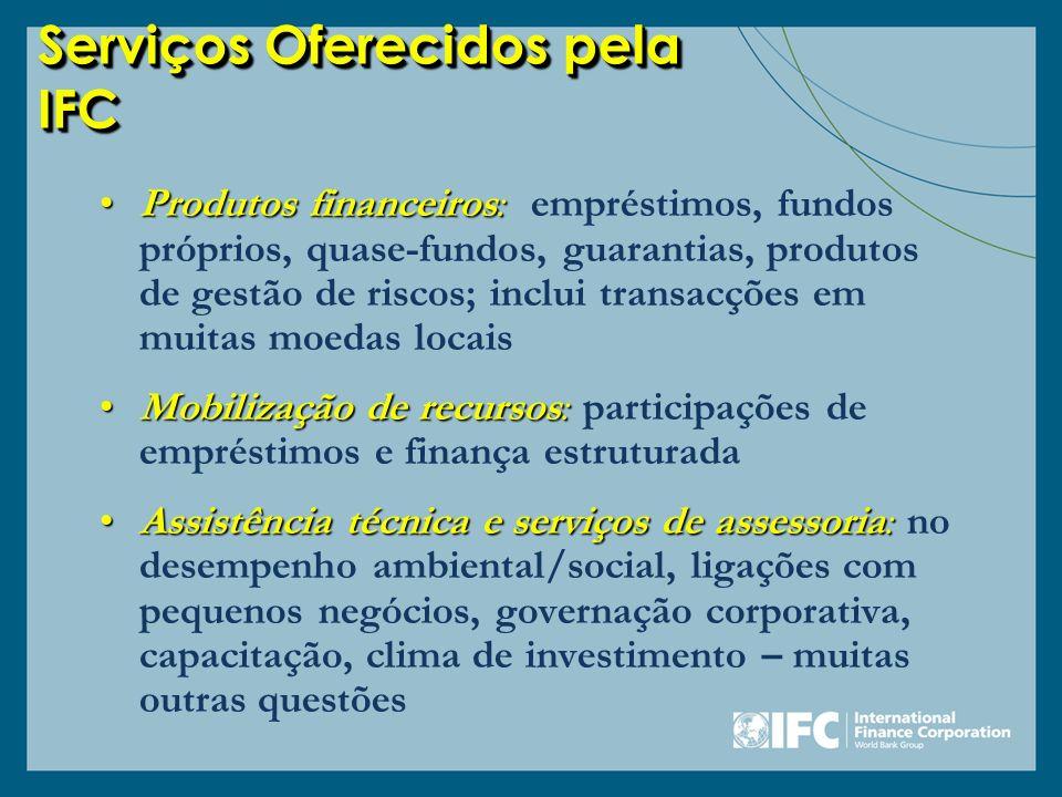 Serviços Oferecidos pela IFC Produtos financeiros:Produtos financeiros: empréstimos, fundos próprios, quase-fundos, guarantias, produtos de gestão de