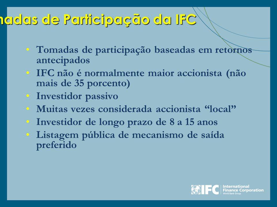 Tomadas de participação baseadas em retornos antecipados IFC não é normalmente maior accionista (não mais de 35 porcento) Investidor passivo Muitas ve