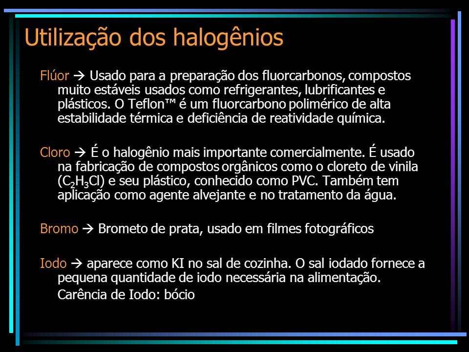 Utilização dos halogênios Flúor Usado para a preparação dos fluorcarbonos, compostos muito estáveis usados como refrigerantes, lubrificantes e plástic