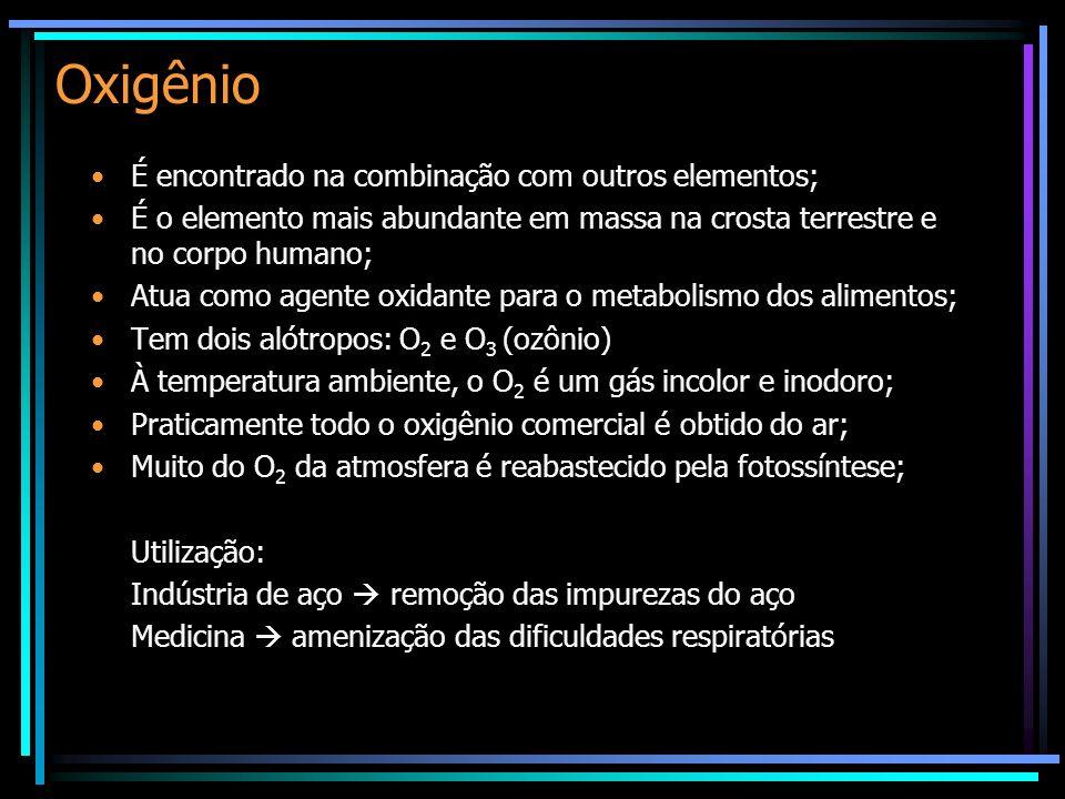 Oxigênio É encontrado na combinação com outros elementos; É o elemento mais abundante em massa na crosta terrestre e no corpo humano; Atua como agente oxidante para o metabolismo dos alimentos; Tem dois alótropos: O 2 e O 3 (ozônio) À temperatura ambiente, o O 2 é um gás incolor e inodoro; Praticamente todo o oxigênio comercial é obtido do ar; Muito do O 2 da atmosfera é reabastecido pela fotossíntese; Utilização: Indústria de aço remoção das impurezas do aço Medicina amenização das dificuldades respiratórias