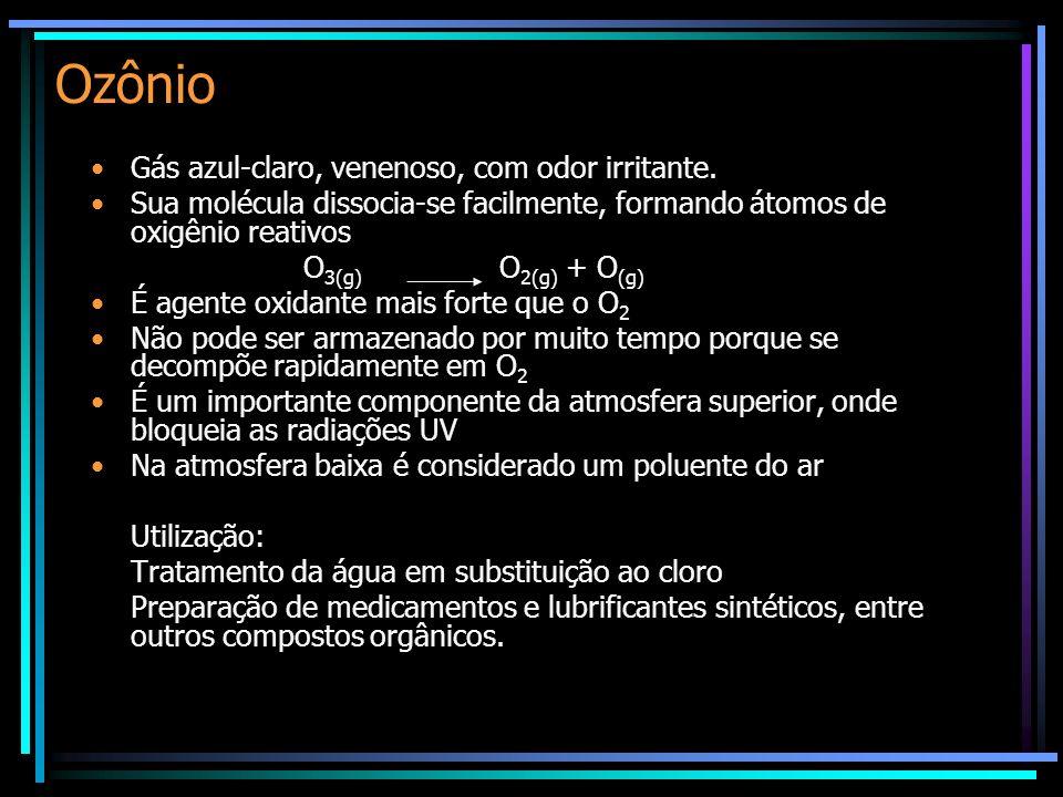 Ozônio Gás azul-claro, venenoso, com odor irritante. Sua molécula dissocia-se facilmente, formando átomos de oxigênio reativos O 3(g) O 2(g) + O (g) É