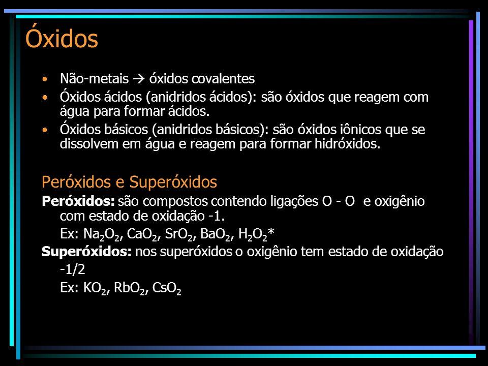 Óxidos Não-metais óxidos covalentes Óxidos ácidos (anidridos ácidos): são óxidos que reagem com água para formar ácidos. Óxidos básicos (anidridos bás