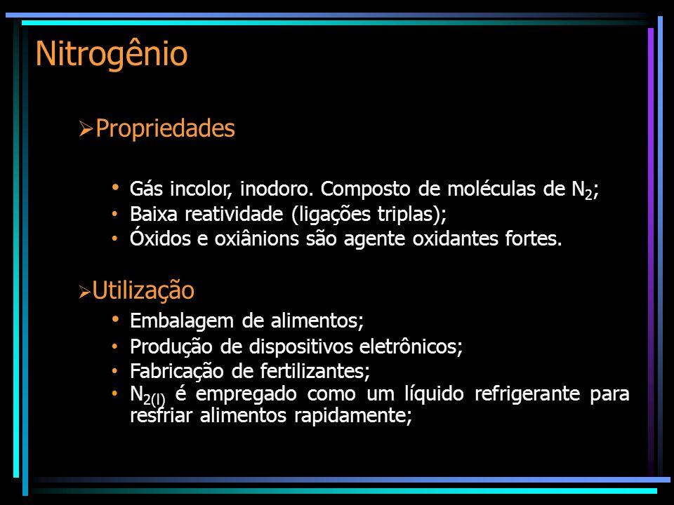 Nitrogênio Propriedades Gás incolor, inodoro. Composto de moléculas de N 2 ; Baixa reatividade (ligações triplas); Óxidos e oxiânions são agente oxida