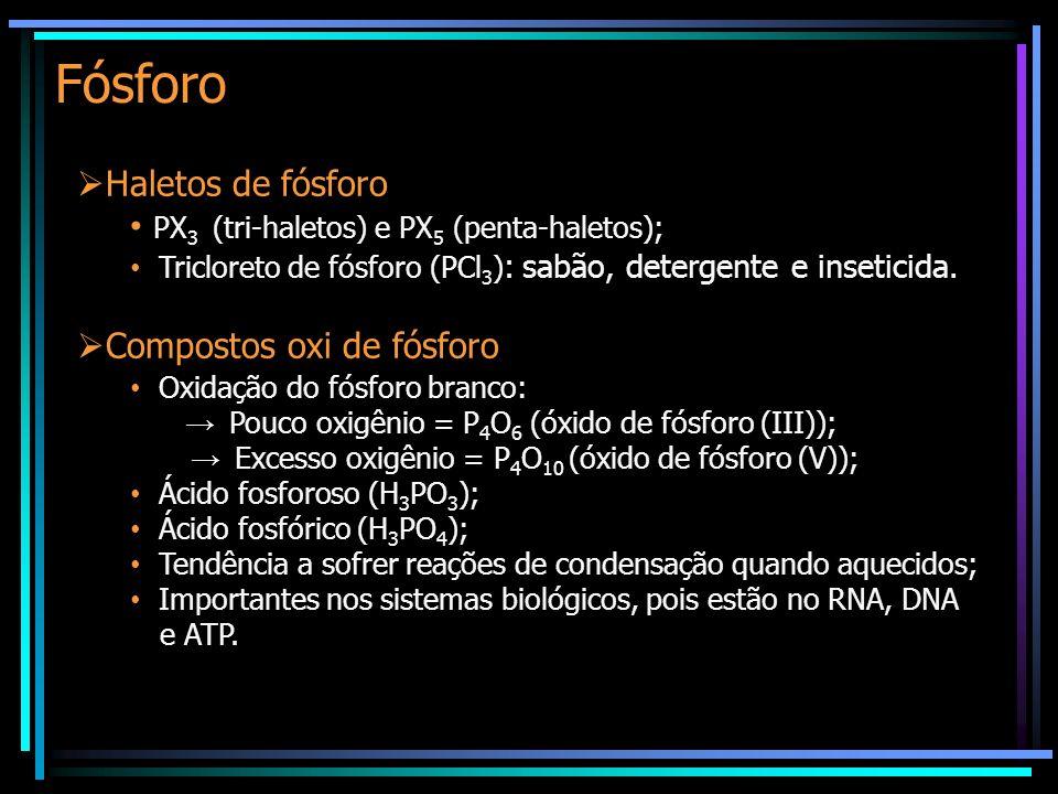 Fósforo Haletos de fósforo PX 3 (tri-haletos) e PX 5 (penta-haletos); Tricloreto de fósforo (PCl 3 ) : sabão, detergente e inseticida. Compostos oxi d