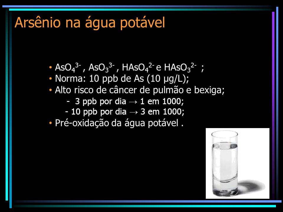 Arsênio na água potável AsO 4 3-, AsO 3 3-, HAsO 4 2- e HAsO 3 2- ; Norma: 10 ppb de As (10 µg/L); Alto risco de câncer de pulmão e bexiga; - 3 ppb por dia 1 em 1000; - 10 ppb por dia 3 em 1000; Pré-oxidação da água potável.