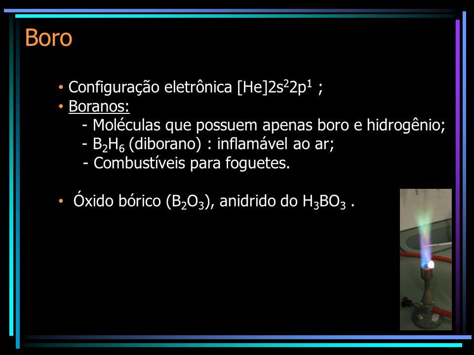 Boro Configuração eletrônica [He]2s 2 2p 1 ; Boranos: - Moléculas que possuem apenas boro e hidrogênio; - B 2 H 6 (diborano) : inflamável ao ar; - Combustíveis para foguetes.