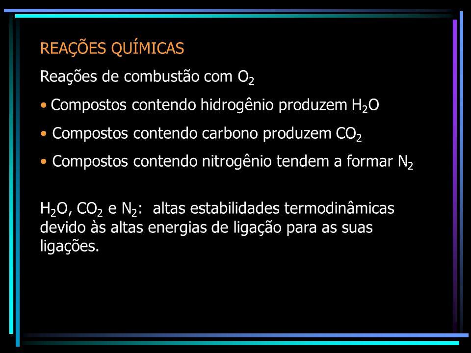 REAÇÕES QUÍMICAS Reações de combustão com O 2 Compostos contendo hidrogênio produzem H 2 O Compostos contendo carbono produzem CO 2 Compostos contendo nitrogênio tendem a formar N 2 H 2 O, CO 2 e N 2 : altas estabilidades termodinâmicas devido às altas energias de ligação para as suas ligações.