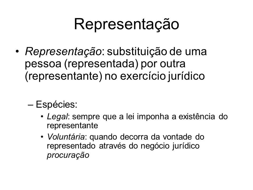 Representação Representação: substituição de uma pessoa (representada) por outra (representante) no exercício jurídico –Espécies: Legal: sempre que a