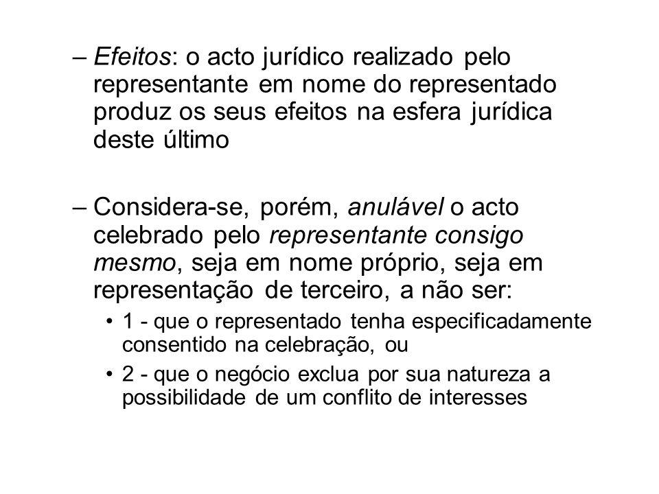–Efeitos: o acto jurídico realizado pelo representante em nome do representado produz os seus efeitos na esfera jurídica deste último –Considera-se, p