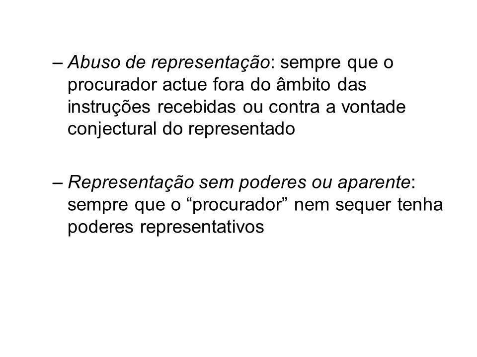 –Abuso de representação: sempre que o procurador actue fora do âmbito das instruções recebidas ou contra a vontade conjectural do representado –Repres