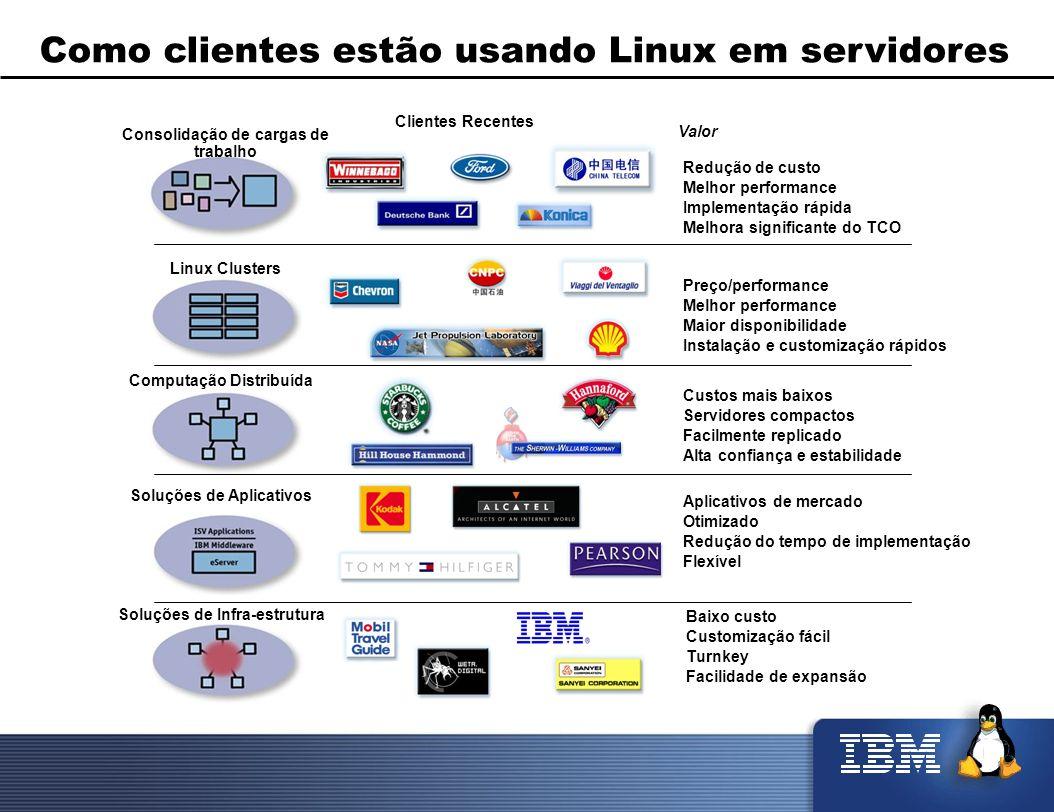 Como clientes estão usando Linux em servidores Linux Clusters Computação Distribuída Soluções de Aplicativos Soluções de Infra-estrutura Redução de cu