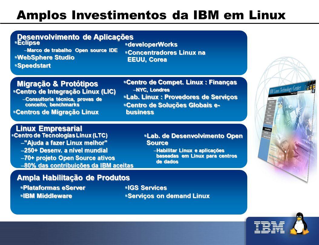 Amplos Investimentos da IBM em Linux Migração & Protótipos Centro de Integração Linux (LIC) Centro de Integração Linux (LIC) –Consultoría técnica, pro