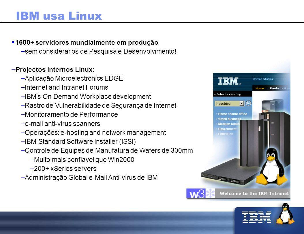 IBM usa Linux 1600+ servidores mundialmente em produção – sem considerar os de Pesquisa e Desenvolvimento! – Projectos Internos Linux: – Aplicação Mic