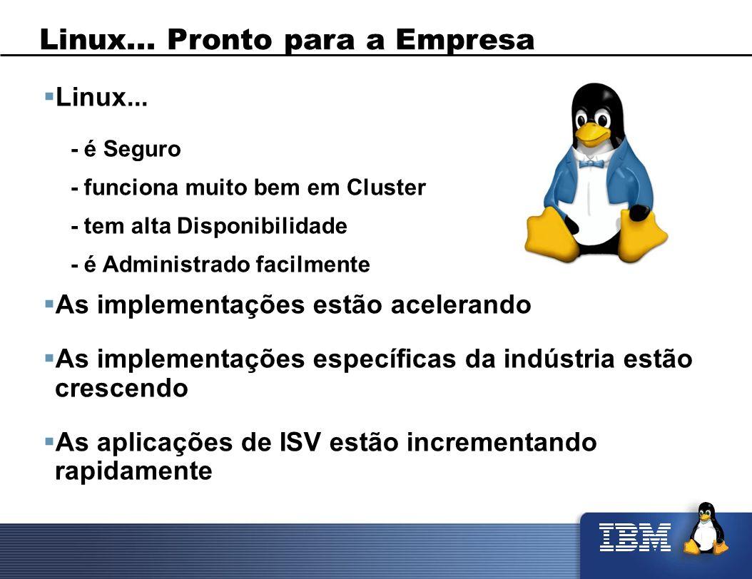 Linux... Pronto para a Empresa Linux... - é Seguro - funciona muito bem em Cluster - tem alta Disponibilidade - é Administrado facilmente As implement