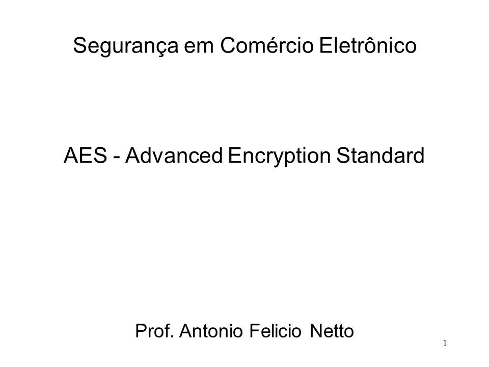 1 Segurança em Comércio Eletrônico Prof. Antonio Felicio Netto AES - Advanced Encryption Standard