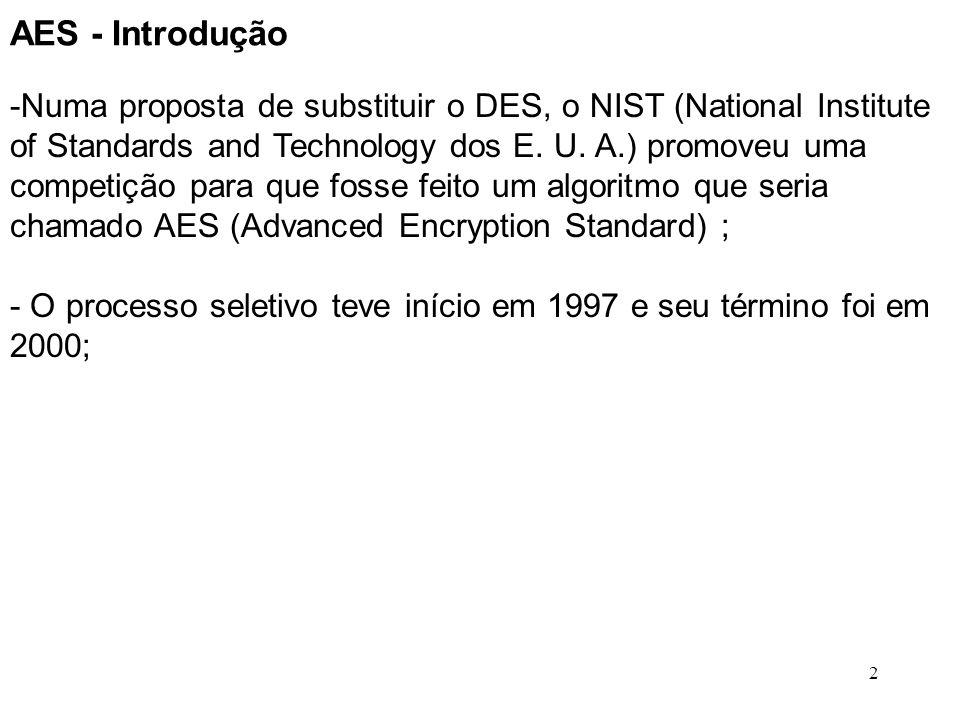 2 AES - Introdução -Numa proposta de substituir o DES, o NIST (National Institute of Standards and Technology dos E. U. A.) promoveu uma competição pa