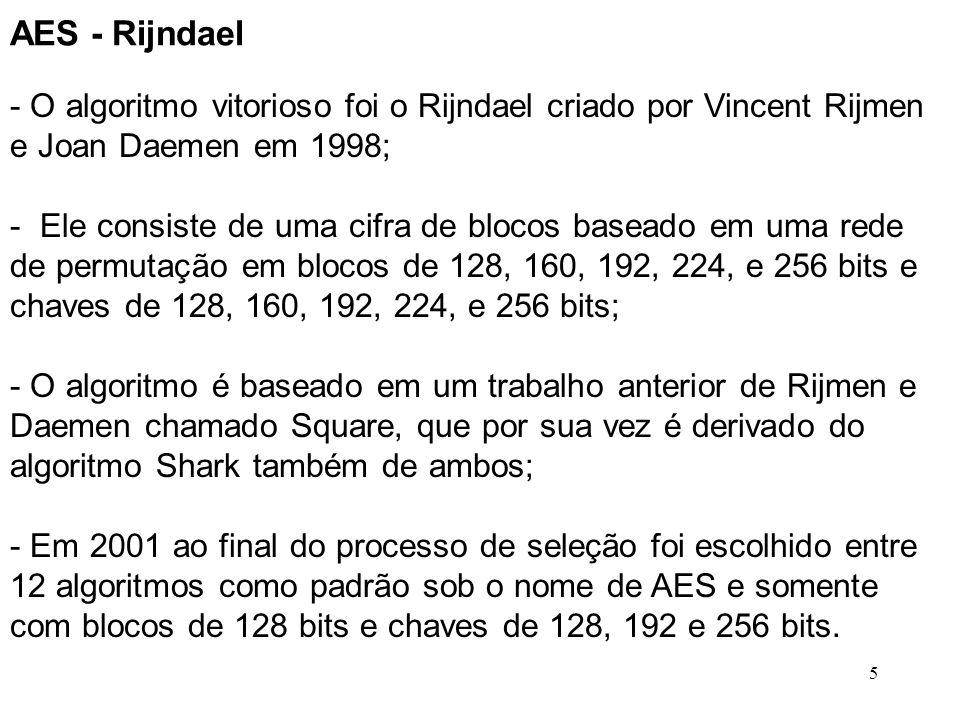 5 AES - Rijndael - O algoritmo vitorioso foi o Rijndael criado por Vincent Rijmen e Joan Daemen em 1998; - Ele consiste de uma cifra de blocos baseado