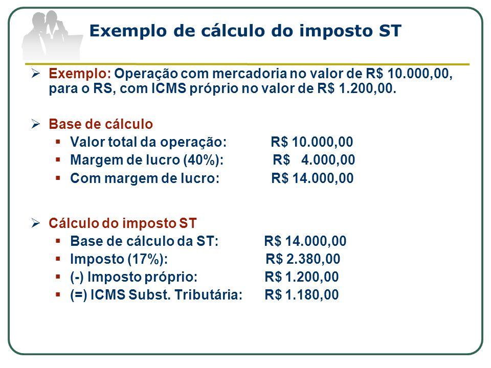 Exemplo de cálculo do imposto ST Exemplo: Operação com mercadoria no valor de R$ 10.000,00, para o RS, com ICMS próprio no valor de R$ 1.200,00. Base