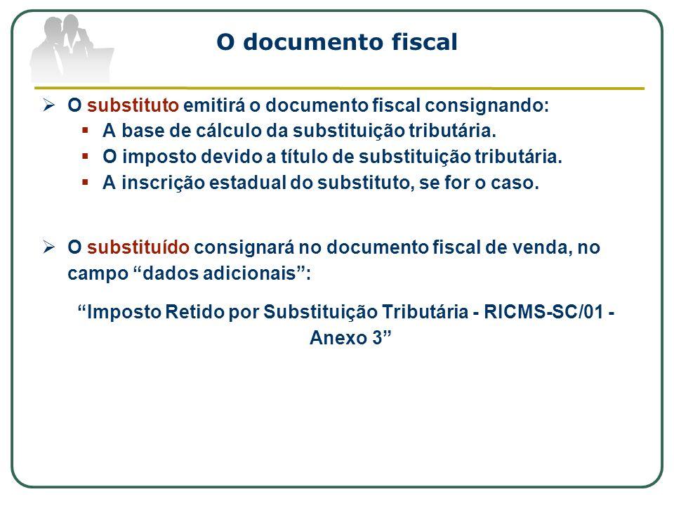 O documento fiscal O substituto emitirá o documento fiscal consignando: A base de cálculo da substituição tributária. O imposto devido a título de sub