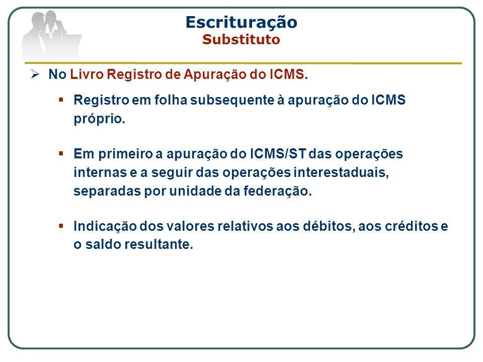 Escrituração Substituto No Livro Registro de Apuração do ICMS. Registro em folha subsequente à apuração do ICMS próprio. Em primeiro a apuração do ICM