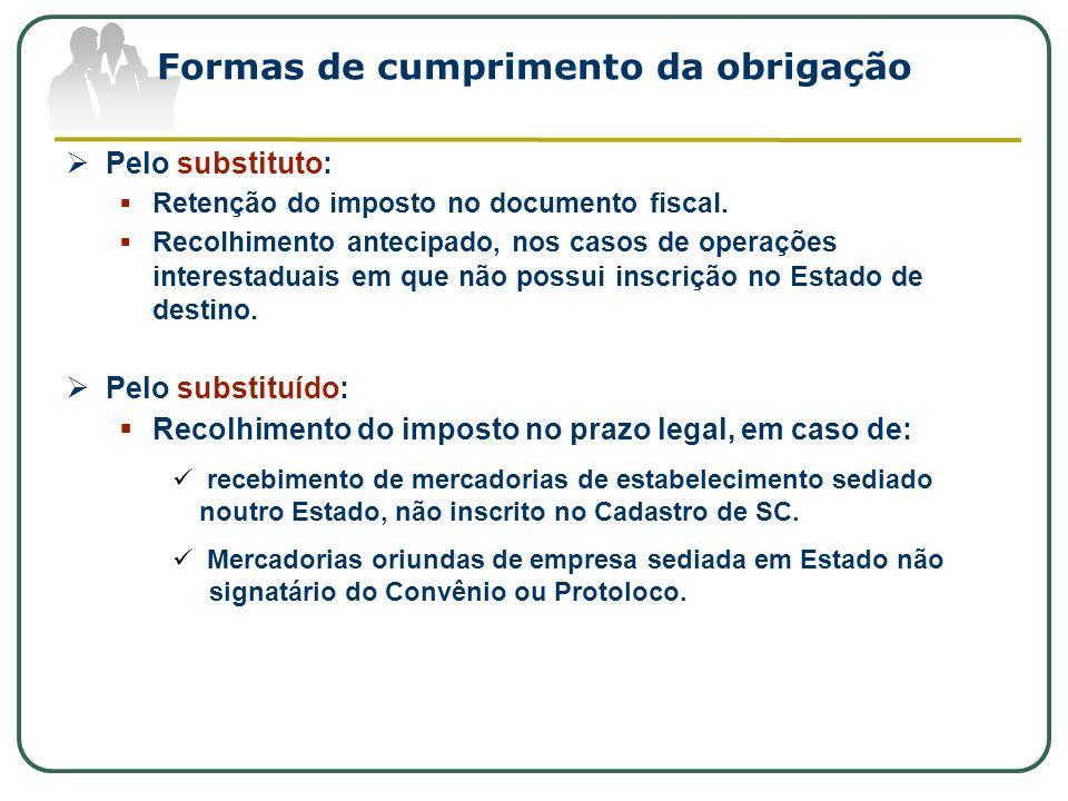 Formas de cumprimento da obrigação Pelo substituto: Retenção do imposto no documento fiscal. Recolhimento antecipado, nos casos de operações interesta