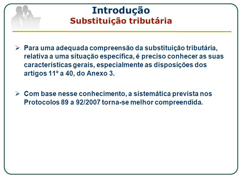 Introdução Substituição tributária Estabelecida em lei ou, no caso do ICMS, através de convênio ou protocolo do CONFAZ (LC 87/96, art.