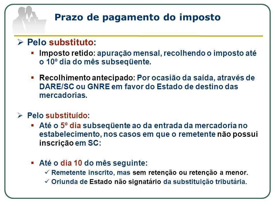Prazo de pagamento do imposto Pelo substituto: Imposto retido: apuração mensal, recolhendo o imposto até o 10º dia do mês subseqüente. Recolhimento an