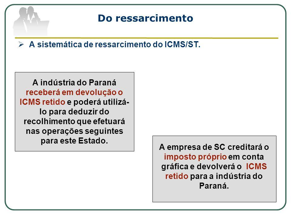 Do ressarcimento A sistemática de ressarcimento do ICMS/ST. A indústria do Paraná receberá em devolução o ICMS retido e poderá utilizá- lo para deduzi