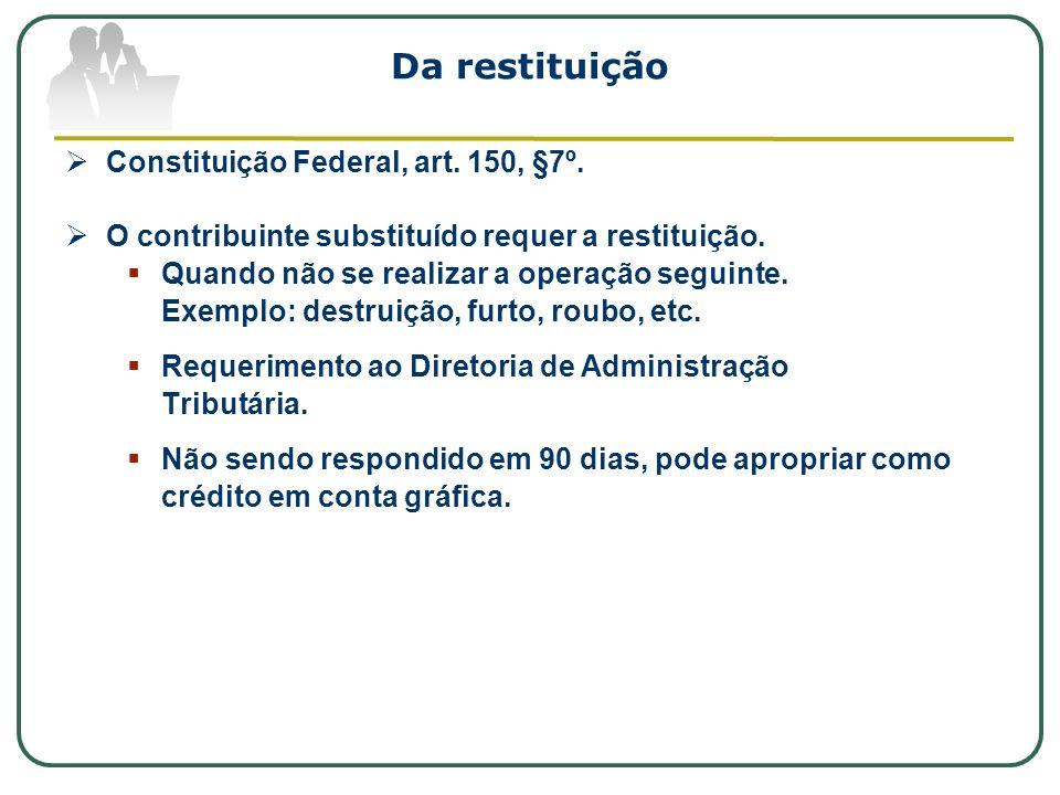 Da restituição Constituição Federal, art. 150, §7º. O contribuinte substituído requer a restituição. Quando não se realizar a operação seguinte. Exemp