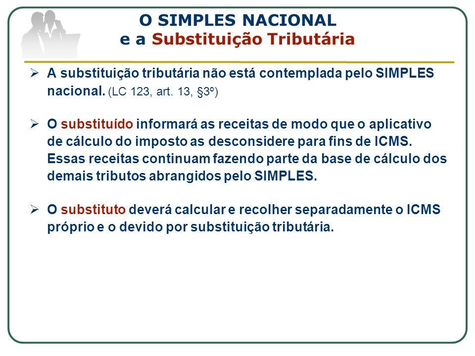 O SIMPLES NACIONAL e a Substituição Tributária A substituição tributária não está contemplada pelo SIMPLES nacional. (LC 123, art. 13, §3º) O substitu