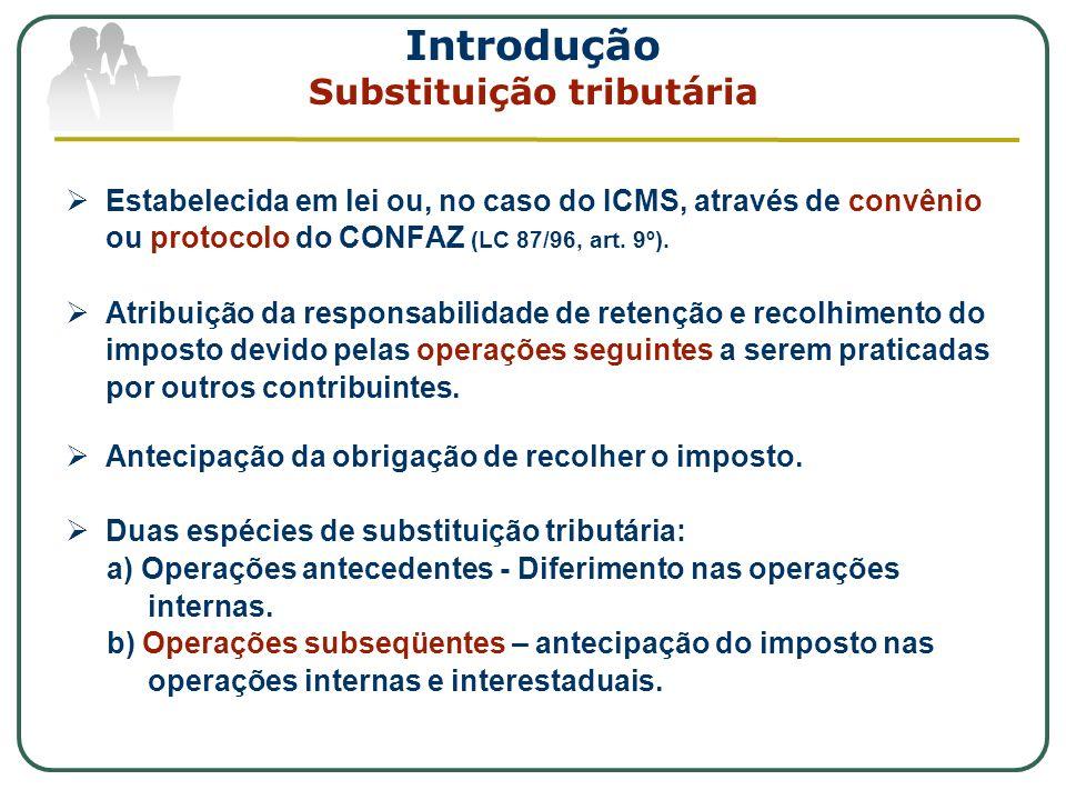 Introdução Substituição tributária Estabelecida em lei ou, no caso do ICMS, através de convênio ou protocolo do CONFAZ (LC 87/96, art. 9º). Atribuição