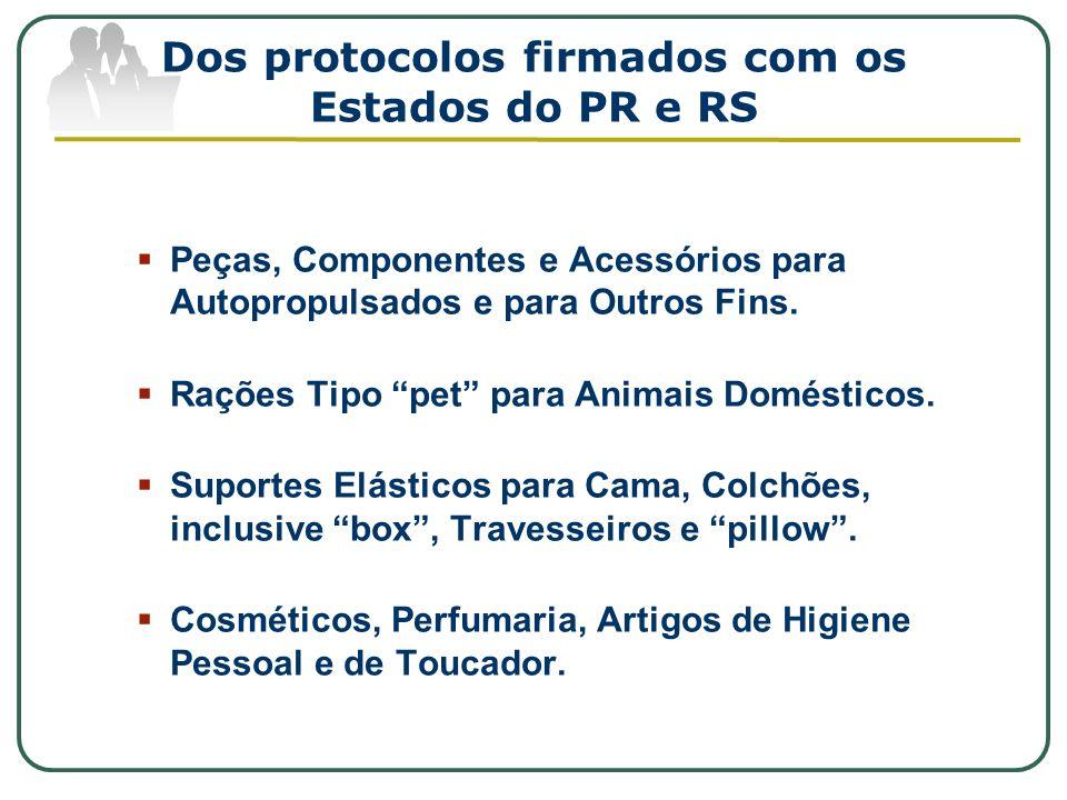 Dos protocolos firmados com os Estados do PR e RS Peças, Componentes e Acessórios para Autopropulsados e para Outros Fins. Rações Tipo pet para Animai