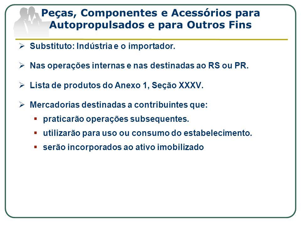 Peças, Componentes e Acessórios para Autopropulsados e para Outros Fins Substituto: Indústria e o importador. Nas operações internas e nas destinadas