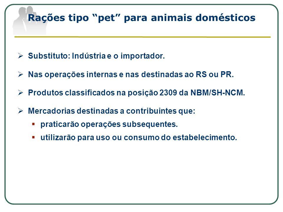 Rações tipo pet para animais domésticos Substituto: Indústria e o importador. Nas operações internas e nas destinadas ao RS ou PR. Produtos classifica