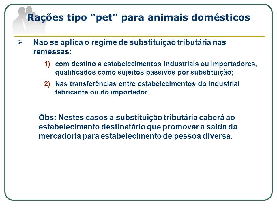 Rações tipo pet para animais domésticos Não se aplica o regime de substituição tributária nas remessas: 1)com destino a estabelecimentos industriais o