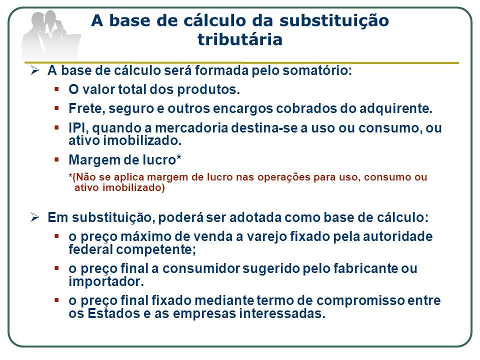 A base de cálculo da substituição tributária A base de cálculo será formada pelo somatório: O valor total dos produtos. Frete, seguro e outros encargo
