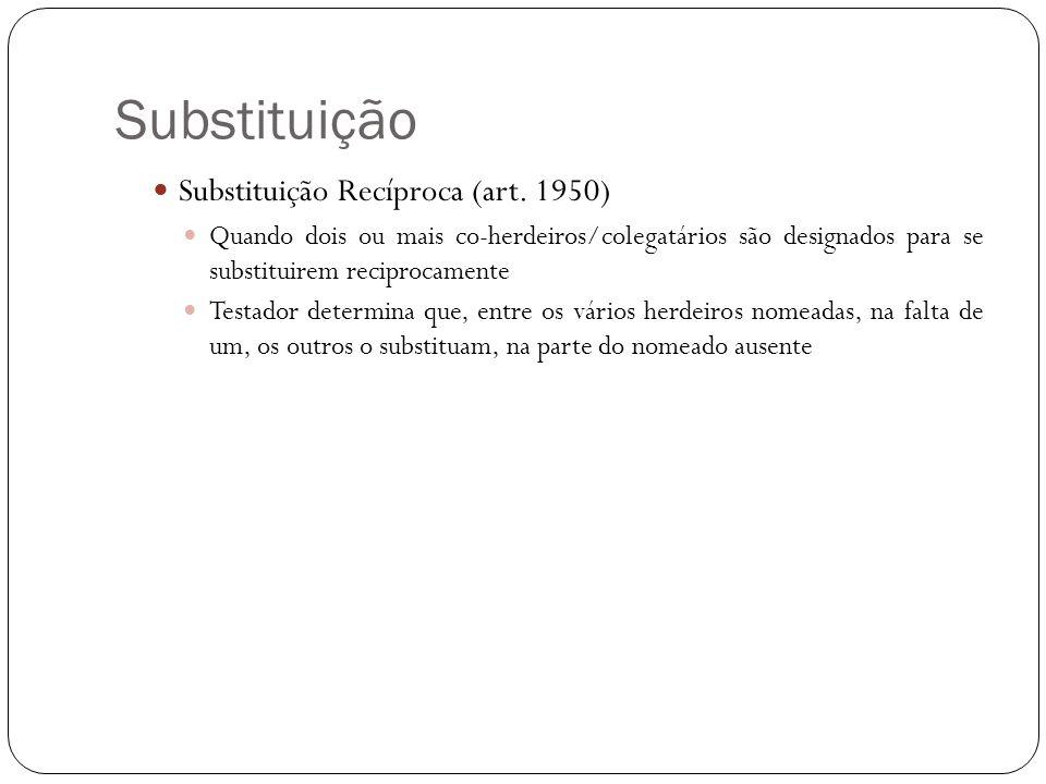 Substituição Substituição Recíproca (art. 1950) Quando dois ou mais co-herdeiros/colegatários são designados para se substituirem reciprocamente Testa