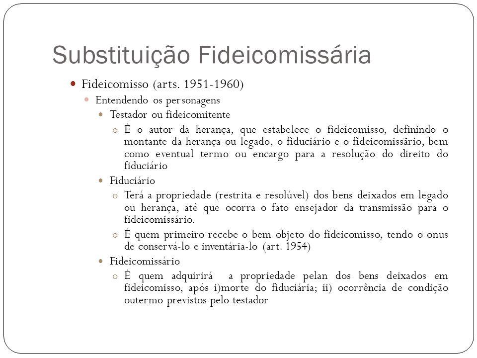 Substituição Fideicomissária Fideicomisso (arts. 1951-1960) Entendendo os personagens Testador ou fideicomitente oÉ o autor da herança, que estabelece