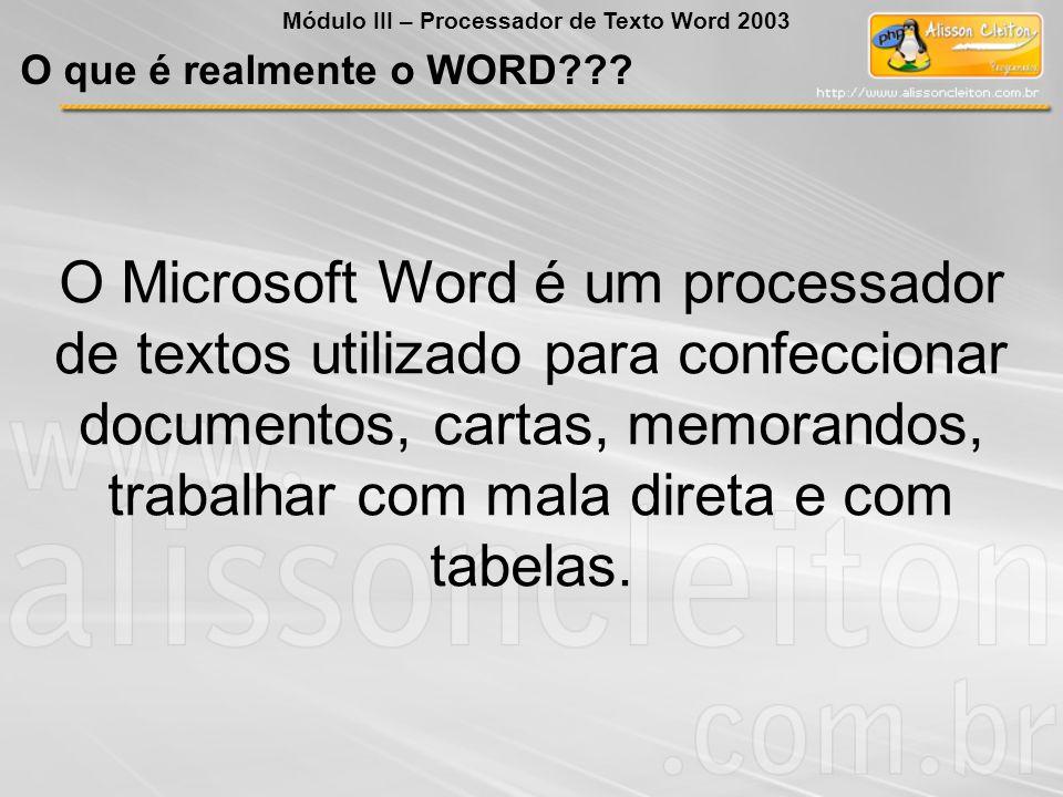 O Microsoft Word é um processador de textos utilizado para confeccionar documentos, cartas, memorandos, trabalhar com mala direta e com tabelas.