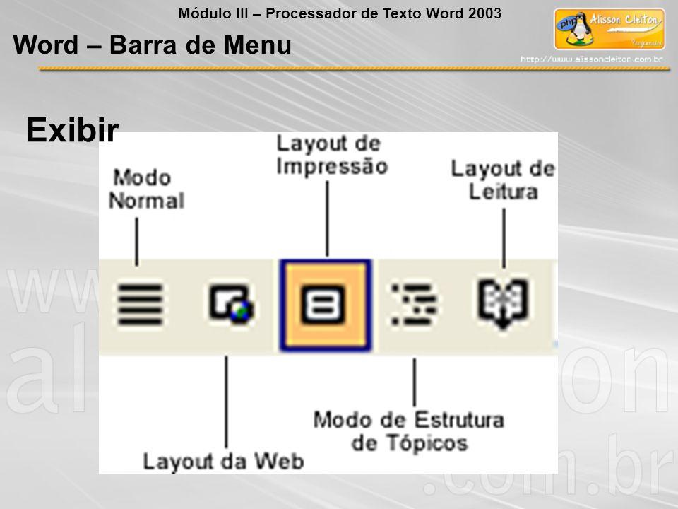 Exibir Word – Barra de Menu Módulo III – Processador de Texto Word 2003