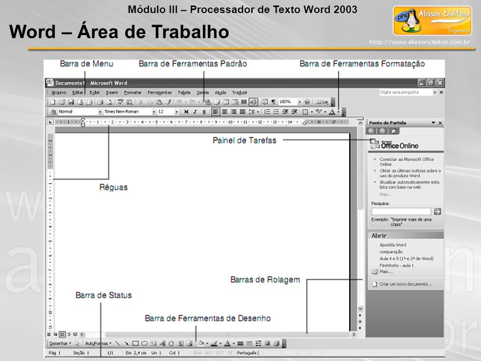 Word – Área de Trabalho Módulo III – Processador de Texto Word 2003