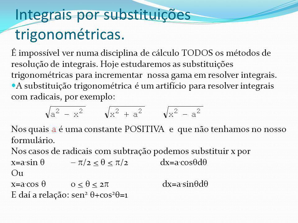 Substituições Trigonométricas Fazendo a substituição: x=a.