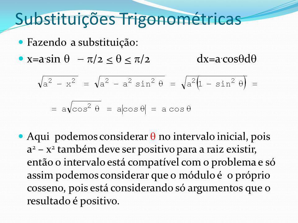 Substituições Trigonométricas Radicais com subtração fazemos a substituição: x=a.