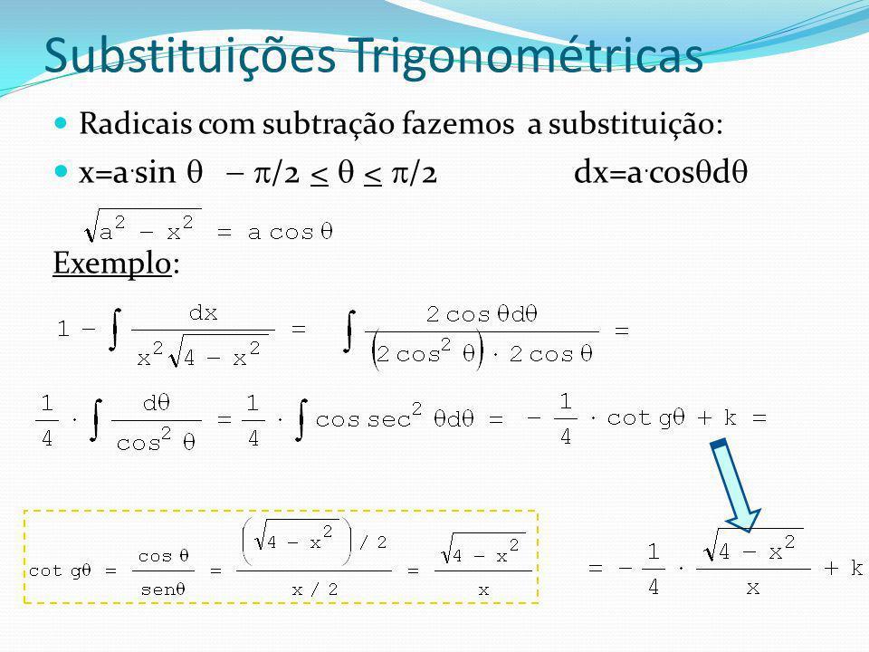 Substituições Trigonométricas Radicais com adição fazemos a substituição: x=a.