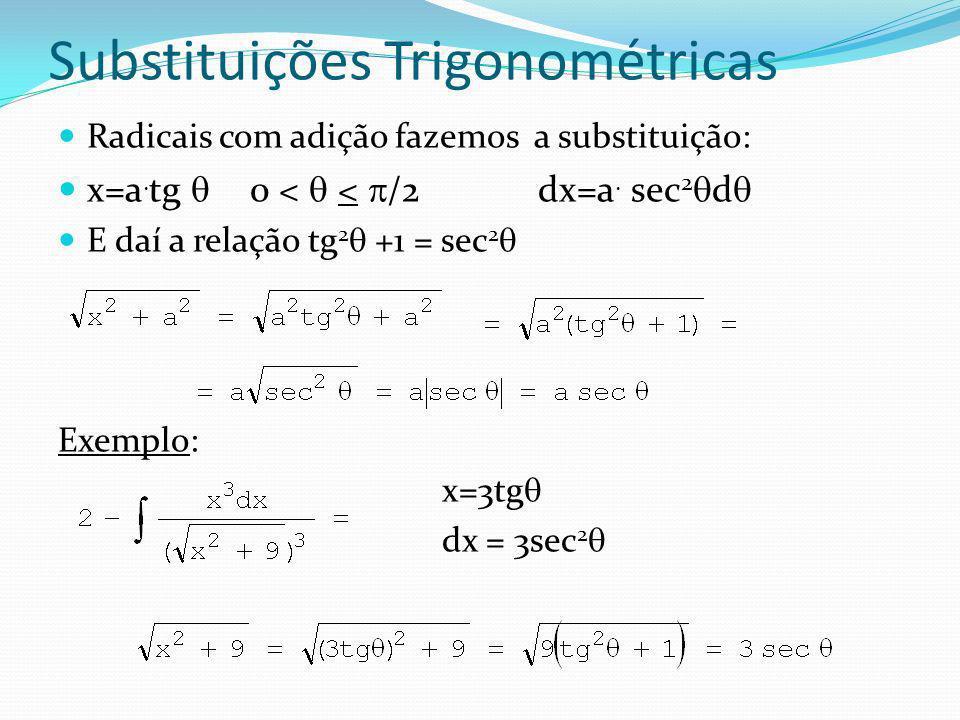 Substituições Trigonométricas Exemplo: x=3tg dx = 3sec 2